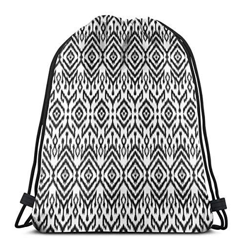 Hangdachang Monochromes Ikat-Muster, böhmisch, ethnisch, authentisch, Chevron, modernes Kritzelei, verstellbarer Kordelverschluss, bedruckter Kordelzug, Rucksäcke