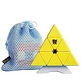 OJIN MoYu Pyramid M Smile Pyraminx Cube Tetrahedron Puzzles sin Etiqueta con Bolsa de Cubo y trípode de un Cubo(Sin Etiquetas)