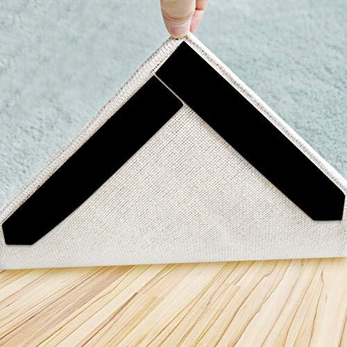 Rug Gripper 16 Pcs Double Sided Anti Curling Non Slip Reusable Rug Pad Washable Rug Tape for Hardwood Floors Tile Floors Carpets Floor Mats Wall Black