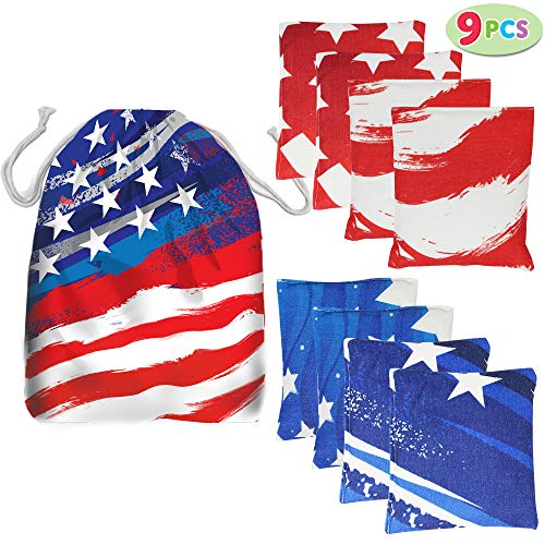 """JOYIN 8 Cornhole Bean Bags 6"""" Weather Resistant with American Flag Tote Bag for Outdoor Parties Corn Hole Toss Games, Cookouts, Barbecues, Reunions, Tailgates"""