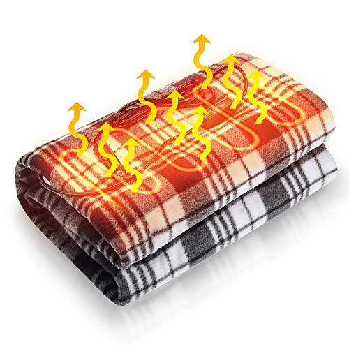 Audew Manta Eléctrica Coche 12V 24V Manta Calefactada para Coches con Interruptor de Temperatura y Tiempo de Restablecimiento, Manta Calefactada para Coches, Camiones y Campistas (150 * 110cm)