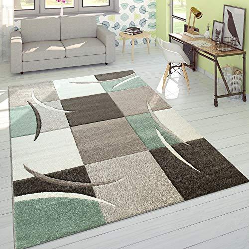 Paco Home Wohnzimmer Teppich In Modernen Pastell Farben, Karo Muster m. 3D Effekt, Grösse:200x290 cm, Farbe:Grün