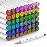 Rotuladores artísticos de 48 colores de punta doble (fina y bisel) - Rotuladores permanentes Hethrone de tinta a base de alcohol, rotuladores de colores para pintar, dibujar, subrayar