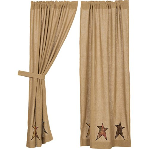 VHC Brands Stratton Burlap Applique Star Short Panel Set of 2 63x36 Country Curtains