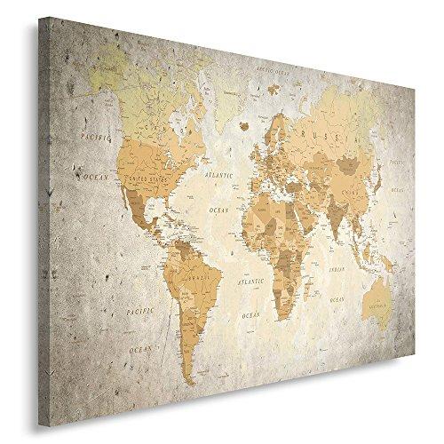 Feeby. Tableau Déco - 1 Partie - 80x120 cm, Impression sur Toile Décoration Murale Image Imprimée, Carte du Monde, Moderne, Brun