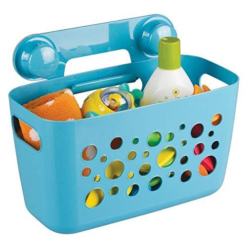mDesign großer Duschkorb zum Hängen - ideale Duschablage für Kinderspielzeug, Shampoo, Schwämme und sonstiges Duschzubehör - Duschregal mit Saugnapfen für Dusche und Badwanne - blau