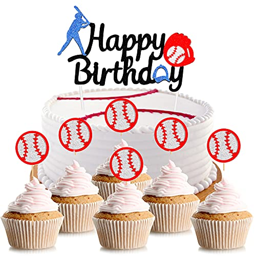 Baseball Theme Cake Topper, Sports Themed Baseball Player Birthday Party Decorations Supplies, Play Baseball Birthday Cake Decor