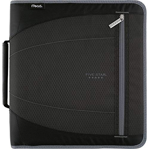 Five Star Zipper Binder, 2 Inch 3 Ring Binder, Removable File Folders, Durable, Black/Gray (29036IT8)