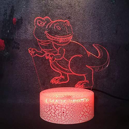 YHZSML Decoración nórdica Moderna para el hogar Luz de Dibujos Animados Dinosaurio Animal 3D LED Lámpara de Noche Creativa Mesa Bebé Navidad Año Nuevo Regalo RGB Lava Flash