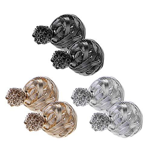 ruiruiNIE 3 Pares de Pendientes de Bola de Doble Cara envueltos en Alambre de Metal con bisutería
