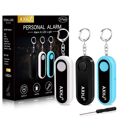 Personal Alarm Keychain Safe Sound, 3 Pack 130dB Emergency Alarm Siren Song Keychain with LED Light, SOS Safety Alarm for Women, Children, Elderly, Joggers