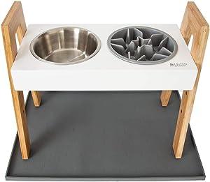 Leashboss Splash Mat, Skyrise Raised Feeder, Slow Bowl - XL Silicone Mat (Gray), Adjustable Elevated Dog Feeder 0 Adjust to 3 Heights, 8