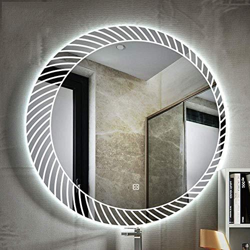 PJPPJH Espejo de baño con luz LED Inteligente sin Marco Redondo con...