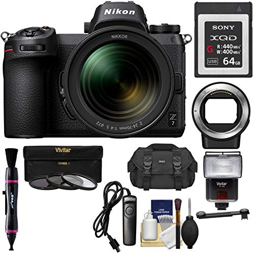 Nikon Z7 Mirrorless Digital Camera & 24-70mm f/4 S Lens with Mount Adapter FTZ + 64GB XQD Card + Case + Remote + Flash & LED + 3 Filters + Kit