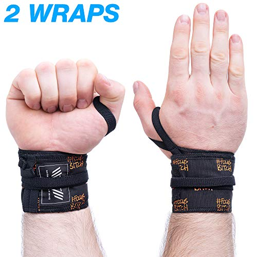 WARM BODY COLD MIND Premium Cotton Wrist Wraps for Olympic Weight Lifting, Powerlifting, Bodybuilding, Strength Cross Training and Yoga Support