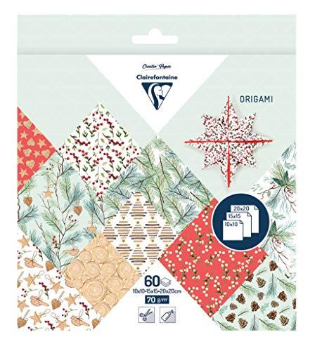 Clairefontaine 95362C - Une pochette origami 60 feuilles 70g (3 formats de papier : 10x10 cm, 15x15 cm, 20x20 cm, motifs assortis (10 motifs x 2 feuilles par format), Noël végétal