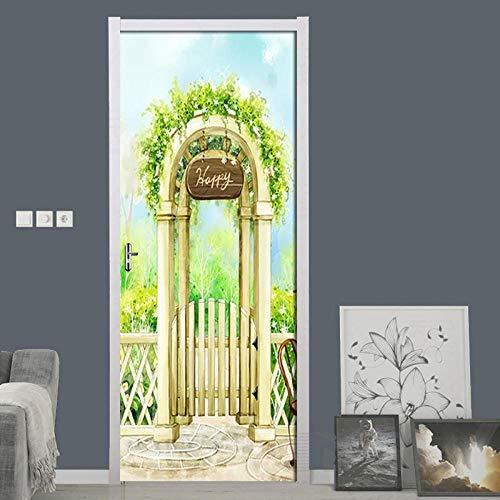 DIOPN Aquarell Manor PVC Wasserdicht Selbstklebende Wand Tür Aufkleber Tapete Für Wohnzimmer Schlafzimmer Tür Aufkleber Wandbild Wandaufkleber (77 * 200 CM)