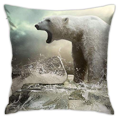 Throw Pillow Cover Cushion Cover Pillow Cases Decorative Linen Polar Bear Ice for Home Bed Decor Pillowcase,45x45CM