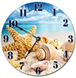 Sugar Vine Art Sea Shells On The Beach Silent Non Ticking Round Battery Operated Handmade Hanging Large10.5 Inch Wall Clock for Bedroom Office Cottage Decoration