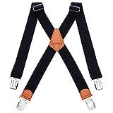 HBselect Bretelle Uomo Elastiche Bretelle Uomo con 4 Clip Accessori da Uomo Eleganti Bretelle Righe Vintage Adatto per Uomo e Donna Forma di X (Nero)