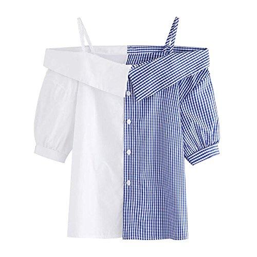 TWIFER Patchwork Damen Sommer Grid Aus Der Schulter Kurzarm Tops Bluse T Shirt