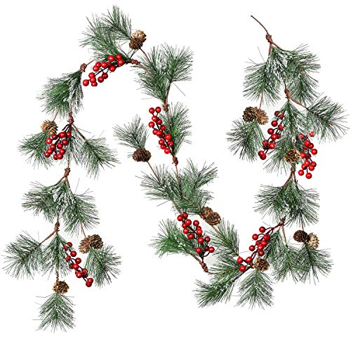 Artiflr 6FT Red Berry Garland, Artificial Red and Burgundy Berry Christmas Garland
