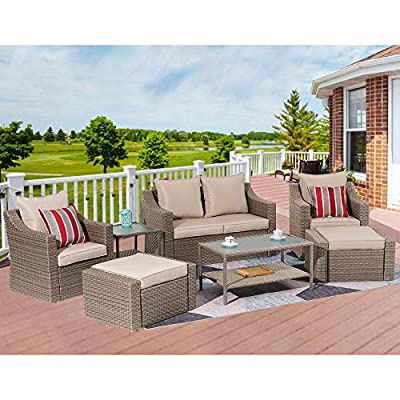 Stamo Patio Conversation Sets 8-Piece Coffee PE Wicker Furniture Chair Sets with Glass Table, All Weather Outdoor Rattan Wicker Cushioned Sectional Sofa Chairs with Coffee Cushions