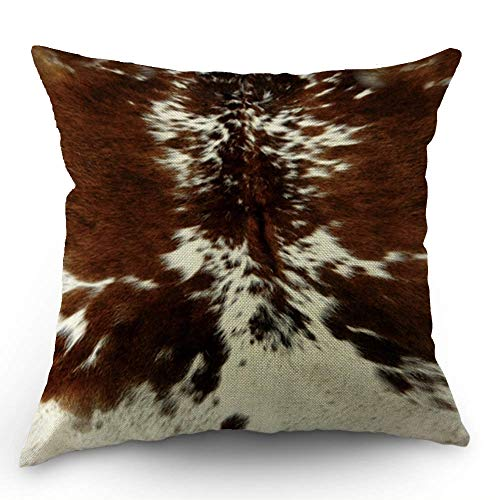 HL HLPPC Print Cowhide Throw Pillow Case Farm Animal Tri Color Brown Cow Cotton Linen Cushion Cover 18 x 18 Inches Standard Square Decorative Pillow Cover for Sofa and Bed One Side Print