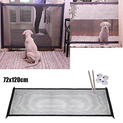 Liqiqi Magic-Gate Sicherheitsnetz für Haustiere und Kinder, tragbar, faltbar, Tor aus Netzstoff Schwarz
