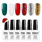 ROSALIND Esmaltes Semipermanentes de Navidad, 6 Colors Rojo Dorado Verde Bosque Blanco Esmaltes de...