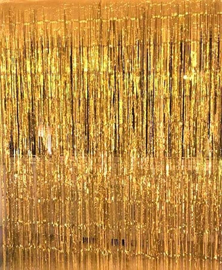 COFASHION 3.2 ft x 9.8 ft Metallic Tinsel Foil Fringe Curtain Party Photo Booth Backdrop for Birthday Wedding Baby Shower Party Decorations Supplies(Gold,1 pack)