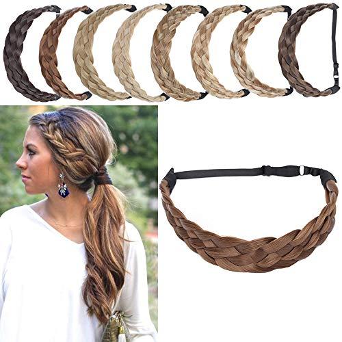 SEGO Diademas Trenzadas Elásticas Mujer Pelo Sintético Se Ve Natural [Castaño Claro] Extensiones de Cabello Accesorios Braid Hair Headband (L-3.8cm)