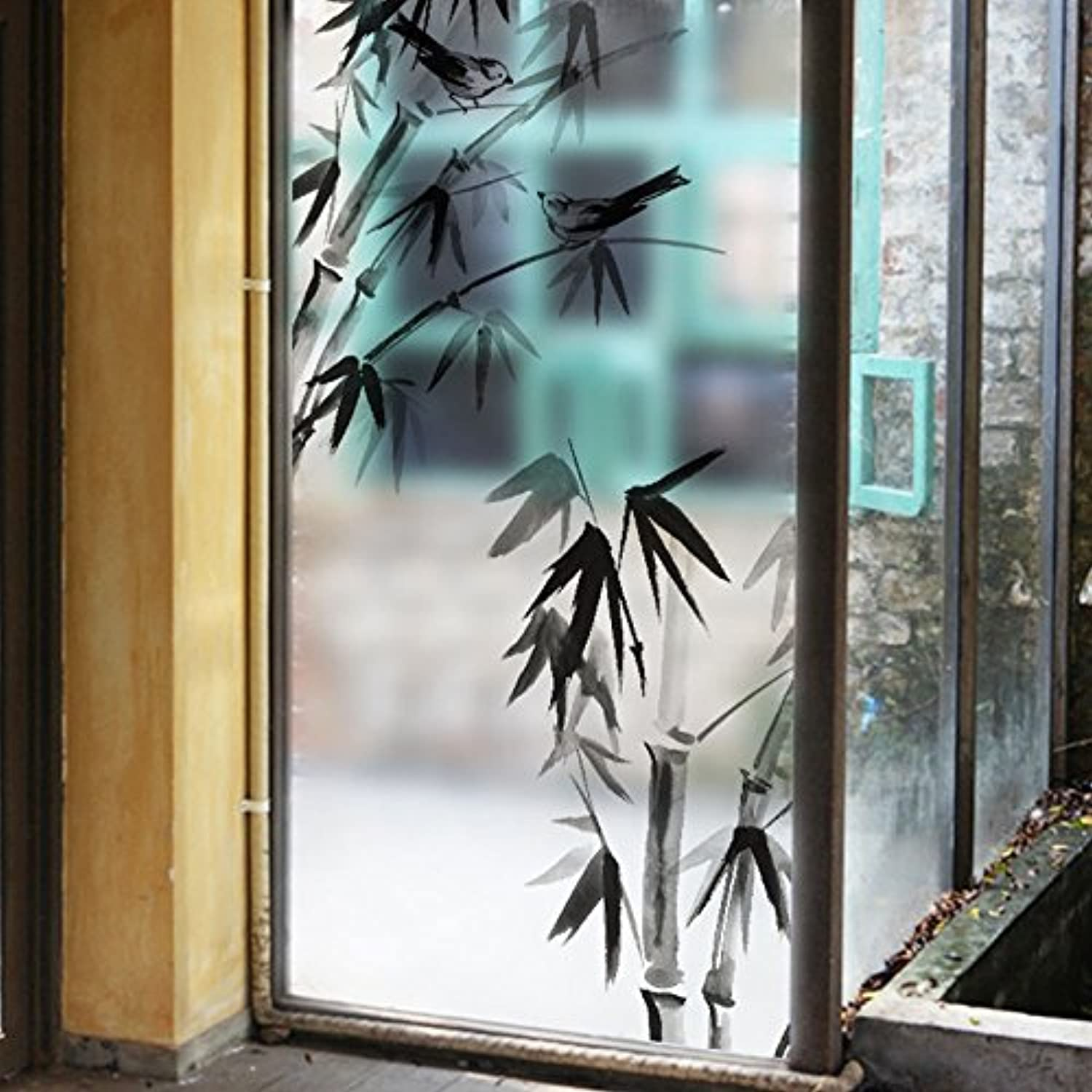 ASIBG Home Bathroom Glass Sticker Sliding Door Cellophane Transparent Opaque Window Sticking Glass Film Bathroom Waterproof Window Stickers Self-Adhesive 60116Cm (23.645.7Inch),Ink Painting Of Bamboo