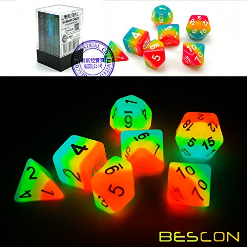 Bescon Fantasy Rainbow Glowing Polyhedral Dice 7pcs Set Midnight Candy, Luminous RPG Dice Set Glow in Dark, Novelty DND Game Dice d4 d6 d8 d10 d12 d20 d% in Brick Box
