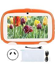 Dpofirs Kids Tablet för Google 1GB + 16GB HD för Android 9.0 Learning E-Reader 7in Orange 100-240V för barn Presentskydd för barn(Australisk kontakt (100-240V))