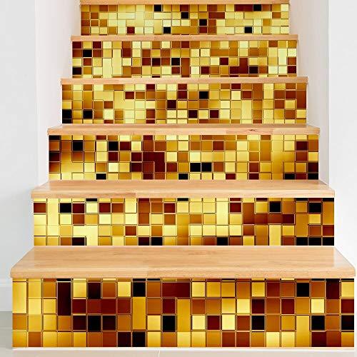 TIVOPA DIY Schritte Aufkleber Abnehmbare Treppe Aufkleber Wohnkultur Keramikfliesen Muster Golden Silber Keramikfliesen Treppe Aufkleber Für Zuhause