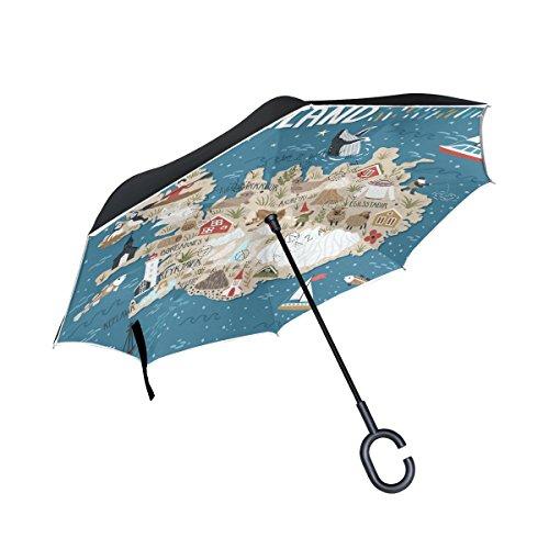 Top Carpenter Mapa de guarda-chuvas invertido invertido de camada dupla da Islândia com alça em forma de C para carro ao ar livre