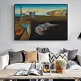 SADHAF Cartel de persistencia de la pintura del famoso pintor Memoria sobre el lienzo Impreso Salón Hogar Mural Arte A4 60x80cm