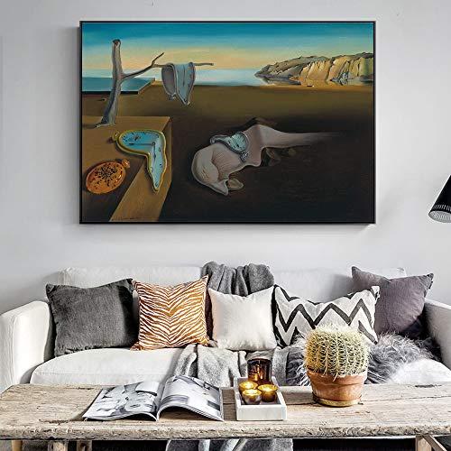 SADHAF Persistentie Poster van Beroemde Schilder Schilderij Geheugen Op Het Doek Gedrukte Woonkamer Home Mural Art 50x70cm (no frame) A3