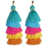 Aymsm New Ethnic Wind Multi-Layer Tassel Earrings, Colorful Cotton Earrings, Exquisite Female Fashion Accessories Sky Blue