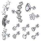 Incaton 12Pcs 16G Stainless Steel Cartilage Cubic Zirconia Stud Earrings for Men Women Girls Conch Forward Helix Tragus...