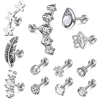 Incaton 12Pcs 16G Stainless Steel Cartilage Cubic Zirconia Stud Earrings for Men Women Girls Conch Forward Helix Tragus Daith Piercing Jewelry