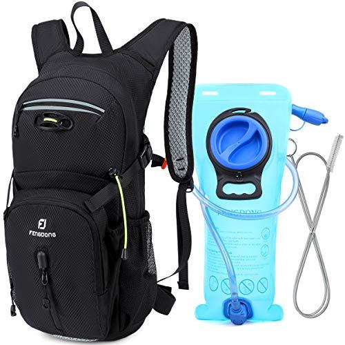 Hiking Backpack Sports Lightweight Hydration Packs with 2L TPU Water Bladder for Biking,Running,Cycling,Climbing black