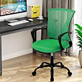 Mesh Hone Office Chair Mid Back Desk Chair Task Chair with Lumbar Support Ergonomic Executive Gaming Chair Adjustable Stool Rolling Swivel Rocking Computer Chair for Adults,Green