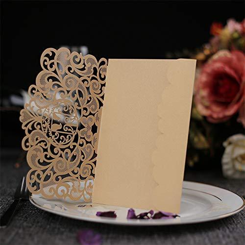 carol -1 Glitzer Hochzeitseinladung Hochzeit Einladungskarten Hohl Rose Business Einladung, 10 Stück Hochzeitskarte Glückwunschkarte Grußkarte, Taufe, Geburtstag, Kommunion Einladungkarte