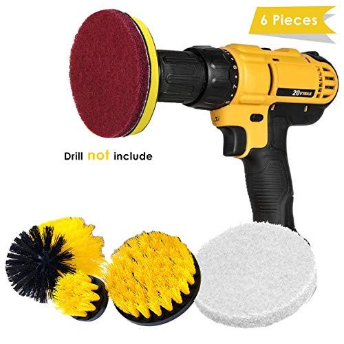 xingyijia0028 boorborstel-opzetset, 6-dlg. Power Scrubbing-borstel, tijdbesparende reinigingsborstelset voor badkamer, zwembad, tegels, vloer, auto, voegmortel en keramiek