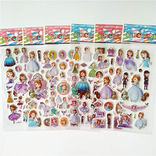 BLOUR 6 Hojas de Pegatinas de Burbujas de Dibujos Animados en 3D de la pequeña Princesa Sofia Pegatinas Juguetes clásicos álbum de Recortes Regalo para niños Pegatina de recompensa para niñas
