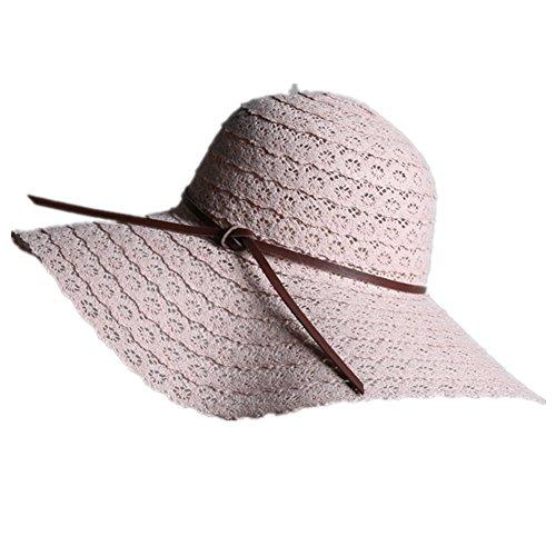 Beige 60/cm DaoRier Femme Soleil d/ét/é Bow Chapeau de Paille de Plage ext/érieur Floppy Pliable Bonnet de Dentelle Taille 58