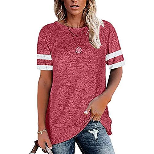 Xyhbava Damski tunika topy luźne dekolt w okrągłym bluzki z krótkim rękawem na co dzień t-shirt letnie koszule tunika topy (czerwony, XXL)
