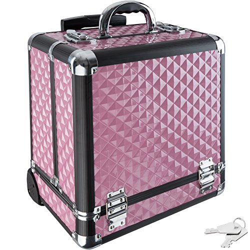 TecTake Valigia Beauty Case Cofanetto Make Up Trolley Bagaglio a mano Valigia Nail Art - disponibile in diversi colori - (Rosa)